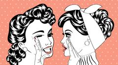 pop art retro women in comics style that gossip - stock illustration
