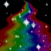 Stock Illustration of Rainbow milky way generated on black sky with white stars