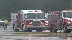 Fire Trucks On Rainy Day Stock Footage