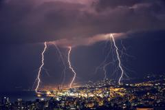 Beautiful lightning at night Stock Photos