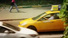 Poplar fluff heat city road traffic Stock Footage