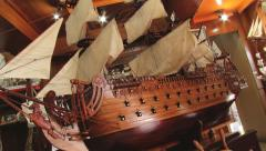 Of the wooden ship models located at the workshop in Curepipe, Mauritius. Stock Footage