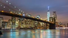 Stock Photo of Brooklyn bridge at dusk, New York City.