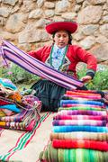 Woman selling handcraft peruvian Andes  Cuzco Peru Stock Photos