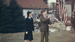 USA 1941: soldiers raising the flag Stock Footage