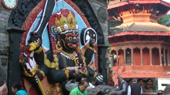 Devotees fro Shiva Hindu god on Durbar square,Kathmandu,Nepal Stock Footage