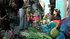 Fruit seller on street,Kathmandu,Nepal Stock Footage