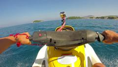 Extreme Jet Ski Driving - Operator Point of View. Man Riding a Jet Ski at Sun Stock Footage