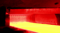 Industry steel, Hot slab are rolling in Mill. Stock Footage