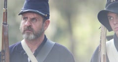 Civil War union soldiers line up. 4K Civil War re-enactment Arkistovideo