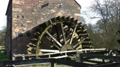 Waterpowered  wheel watermill wheel paddle vintage heritage Stock Footage