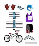 Set of Mountain Bike Equipment on White Background Piirros