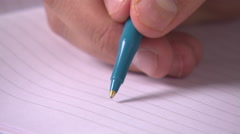 Close Up of Pen on Paper Stock Footage
