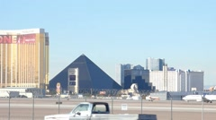 McCarran International Airport Las Vegas Luxor Pyramid in Background Stock Footage