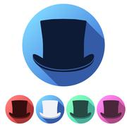 Set Flat icons of black gentleman hat cylinder - stock illustration