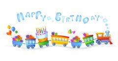 Happy birthday train Stock Illustration