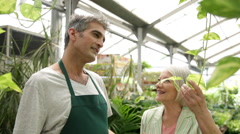 Elder woman asking to help to a employee of a flower shop - stock footage