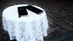Alone table on the old town street with MENU Stock Footage