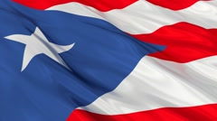 Puerto Rico flag waving. Seamless Stock Footage