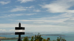 Pan from Rangitoto island in New Zealand - stock footage