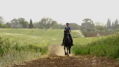 Girl Riding A Horse Stock Footage