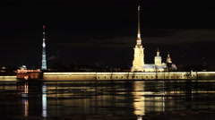 Night view of the Peter and Paul Fortress, St. Petersburg, Russia. Full HD Stock Footage