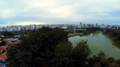 Aerial View of Ibirapuera Park in Sao Paulo, Brazil Stock Footage