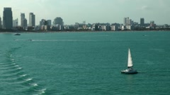 USA Florida Miami 095 skyline of Miami Beach City from seaside Stock Footage
