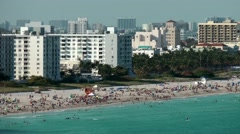 USA Florida Miami 092 special view from above while pass the Miami Beach Stock Footage