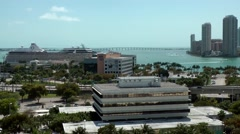 USA Florida Miami 087 harbor district with Rickenbacker Causeway behind it Stock Footage