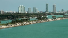 USA Florida Miami 085 Palm Island and Star Island behind Mac Arthur Causeway Stock Footage