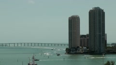 USA Florida Miami 081 skyscrapers of Brickell Key and Rickenbacker Causeway Stock Footage