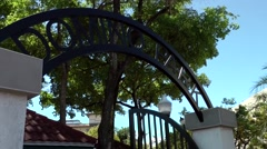 USA Florida Miami 071 Little Havana district; the arch of Domino Park entrance Stock Footage