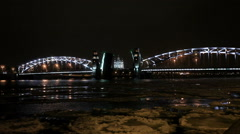 Night view of Opening Bolsheokhtinsky bridge in St. Petersburg, Russia. Full HD Stock Footage