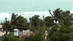 USA Florida Miami 065 bad weather and wind at Miami Beach Collins Avenue Stock Footage