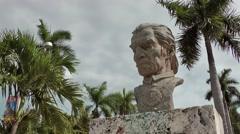 USA Florida Miami 061 Statue Inca Garcilaso De La Vega Peruvian Stock Footage