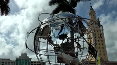 USA Florida Miami 059 globe in front of Freedom Tower Stock Footage
