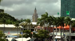 USA Florida Miami 053 view to freedom tower from Bayside Center Stock Footage