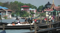 Busy harbour with long tailed boats on Inle Lake,Inle Lake,Burma Stock Footage