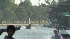 Long-tail boats waterdrops,Inle Lake,Inle Lake,Burma Stock Footage