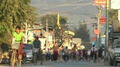 Busy road,Inle Lake,Burma Stock Footage
