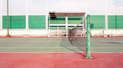Tennis court with net tracking right Stock Footage