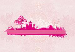 old paper with Chinese temple on abstract Asian Landscape - stock illustration