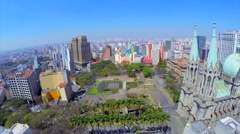 Aerial View of The São Paulo Se Metropolitan Cathedral in Sao Paulo, Brazil - stock footage