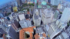 Aerial shot of the City of Sao Paulo financial district skyline in Brazil Stock Footage