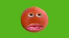 Laughing orange  with leaf isolated on background Chroma Key Stock Footage