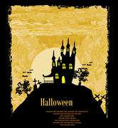 grungy Halloween background with haunted house, bats and full moon - stock illustration