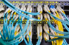 Optical switch and colorfull FC cables - stock photo