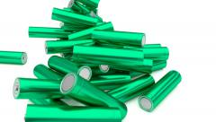 Animated falling plain (stripped from label) blue-green AA batteries Stock Footage