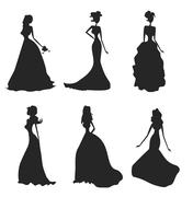 Bride silhouettes set Stock Illustration